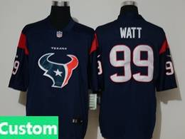 Mens Nfl Houston Texans Custom Made Blue 2020 Fashion Logo No Number On Front Vapor Untouchable Jersey