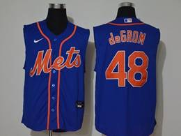 Mens Mlb New York Mets #48 Jacob Degrom Blue Sleeveless Cool Base Nike Jersey