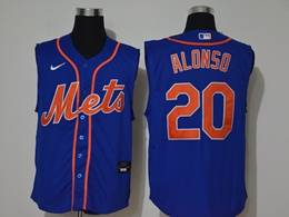 Mens Mlb New York Mets #20 Pete Alonso Blue Sleeveless Cool Base Nike Jersey