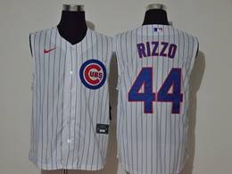 Mens Mlb Chicago Cubs #44 Anthony Rizzo White Stripe Sleeveless Cool Base Nike Jersey