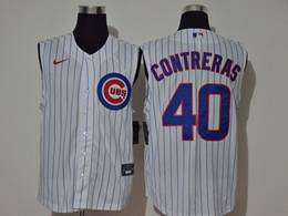 Mens Mlb Chicago Cubs #40 Willson Contreras White Stripe Sleeveless Cool Base Nike Jersey