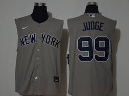 Mens Mlb New York Yankees #99 Aaron Judge Gray Sleeveless Cool Base Nike Jersey