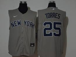 Mens Mlb New York Yankees #25 Gleyber Torres Gray Sleeveless Cool Base Nike Jersey