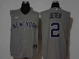 Mens Mlb New York Yankees #2 Derek Jeter Gray Sleeveless Cool Base Nike Jersey