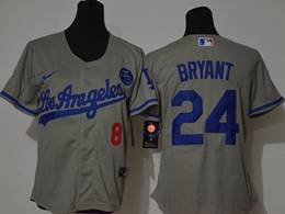 Women Youth Mlb Los Angeles Dodgers #24&8 Bryant Gray Cool Base Nike Jersey