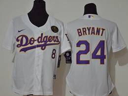 Women Youth Mlb Los Angeles Dodgers #24&8 Bryant White (purple Number) Cool Base Nike Jersey