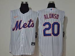 Mens Mlb New York Mets #20 Pete Alonso White Stripe Sleeveless Cool Base Nike Jersey