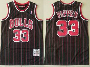 Mens Nba Chicago Bulls #33 Scottie Pippen Black Stripe 1995-96 Mitchell&ness Hardwood Classics Mesh Jersey