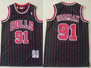 Mens Nba Chicago Bulls #91 Dennis Rodman Black Stripe 1995-96 Mitchell&ness Hardwood Classics Mesh Jersey