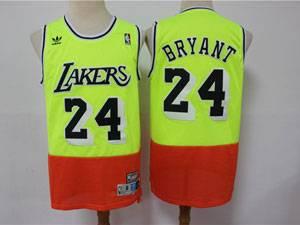 Mens Nba Los Angeles Lakers #24 Kobe Bryant Green Orange Adidas Hardwood Classics Jersey