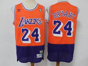 Mens Nba Los Angeles Lakers #24 Kobe Bryant Orange Purple Adidas Hardwood Classics Jersey