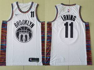 Mens 2021-20 New Nba Brooklyn Nets #11 Kyrie Irving White City Edition Nike Swingman Jersey