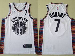 Mens 2021-20 New Nba Brooklyn Nets #7 Kevin Durant White City Edition Nike Swingman Jersey