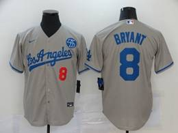 Mens Mlb Los Angeles Dodgers #8 Bryant Gray Cool Base Nike Jersey