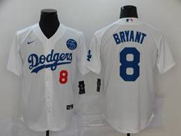 Mens Mlb Los Angeles Dodgers #8 Bryant White Cool Base Nike Jersey