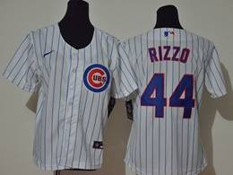 Women Youth Mlb Chicago Cubs #44 Anthony Rizzo White Stripe Cool Base Nike Jersey