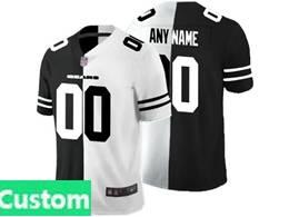 Mens Nfl Chicago Bears Custom Made Black Vs White Peaceful Coexisting Jersey