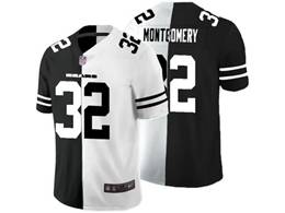 Mens Nfl Chicago Bears #32 David Montgomery Black Vs White Peaceful Coexisting Jersey