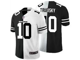 Mens Nfl Chicago Bears #10 Mitchell Trubisky Black Vs White Peaceful Coexisting Jersey
