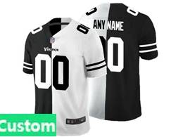 Mens Nfl Minnesota Vikings Custom Made Black Vs White Peaceful Coexisting Jersey