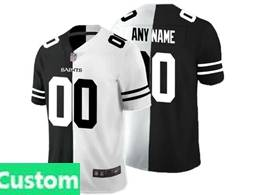 Mens Nfl New Orleans Saints Custom Made Black Vs White Peaceful Coexisting Jersey