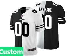 Mens Nfl New York Jets Custom Made Black Vs White Peaceful Coexisting Jersey