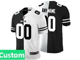 Mens Nfl Philadelphia Eagles Custom Made Black Vs White Peaceful Coexisting Jersey