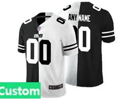 Mens Nfl New York Giants Custom Made Black&white Split Peaceful Vapor Untouchable Limited Jersey
