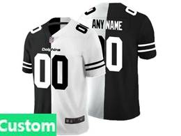 Mens Nfl Miami Dolphins Custom Made Black Vs White Peaceful Coexisting Jersey