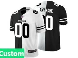 Mens Nfl Tampa Bay Buccaneers Custom Made Black&white Split Peaceful Vapor Untouchable Limited Jersey