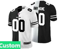 Mens Nfl Cleveland Browns Custom Made Black Vs White Peaceful Coexisting Jersey