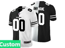 Mens Nfl San Francisco 49ers Custom Made Black Vs White Peaceful Coexisting Jersey