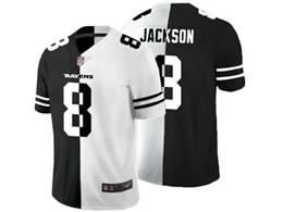 Mens Nfl Baltimore Ravens #8 Lamar Jackson Black Vs White Peaceful Coexisting Jersey