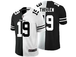 Mens Nfl Minnesota Vikings #19 Adam Thielen Black Vs White Peaceful Coexisting Jersey