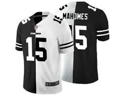 Mens Nfl Kansas City Chiefs #15 Patrick Mahomes Black Vs White Peaceful Coexisting Jersey