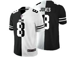 Mens Nfl New York Giants #8 Daniel Jones Black Vs White Peaceful Coexisting Jersey