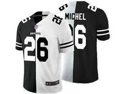 Mens New England Patriots #26 Sony Michel Black Vs White Peaceful Coexisting Jersey
