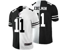 Mens Nfl New England Patriots #11 Julian Edelman Black Vs White Peaceful Coexisting Jersey
