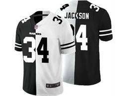 Mens Nfl Oakland Raiders #34 Bo Jackson Black Vs White Peaceful Coexisting Jersey