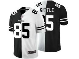 Mens Nfl San Francisco 49ers #85 George Kittle Black Vs White Peaceful Coexisting Jersey