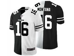 Mens Nfl San Francisco 49ers #16 Joe Montana Black Vs White Peaceful Coexisting Jersey