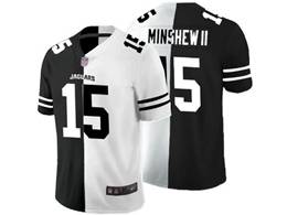 Mens Nfl Jacksonville Jaguars #15 Gardner Minshew Ii Black Vs White Peaceful Coexisting Jersey
