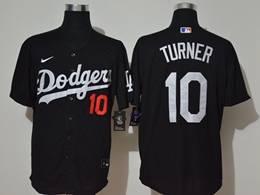 Mens Mlb Los Angeles Dodgers #10 Justin Turner Black Cool Base Nike Jersey
