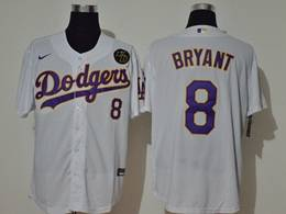 Mens Mlb Los Angeles Dodgers #8 Bryant White (purple Number ) Cool Base Nike Jersey