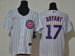 Women Youth Mlb Chicago Cubs #17 Kris Bryant White Stripe Cool Base Nike Jersey