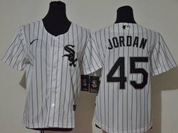 Women Youth Mlb Chicago White Sox #45 Michael Jordan White Cool Base Nike Jersey