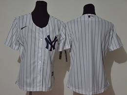 Women Youth Mlb New York Yankees Blank White Stripe Cool Base Nike Jersey