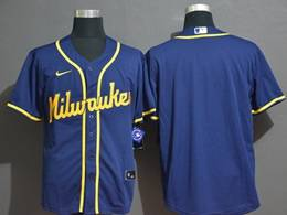 Mens Women Youth Mlb Milwaukee Brewers Blank Blue Cool Base Nike Jersey