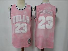 Mens Nba Chicago Bulls #23 Michael Jordan Pink Printing Mitchell&ness Swingman Jersey