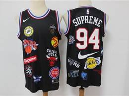 Mens Nba #94 Supreme 18ss Nba Teams Black Embroidered Nike Swingman Jersey